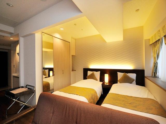 天然温泉 ホテルパコ函館 別亭デラックスツイン6F(シャワーブースのみ) ベッド幅97㎝