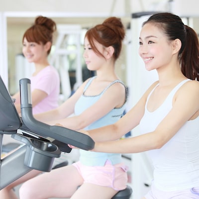 """Hotel with """"# muscular workout girl"""" gym - fitness facility ♪ Image"""