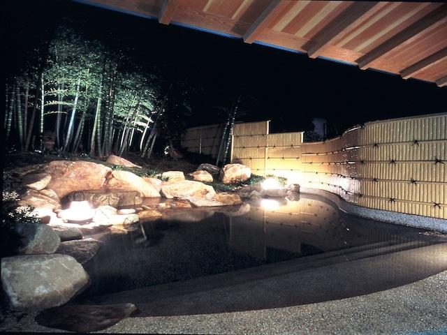 玉造温泉 旅亭 山の井 女性露天風呂 夜
