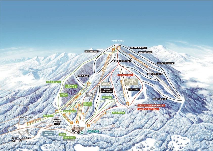 十勝サホロリゾートスキー場のコースマップ