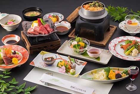 阿蘇内牧温泉 阿蘇プラザホテル 夕食一例