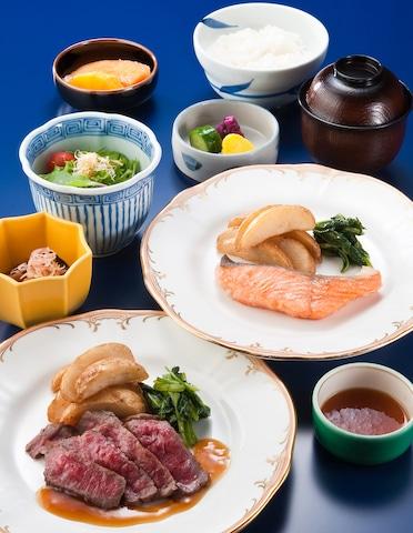 【舞浜】ホテルオークラ東京ベイ 朝食 和風ステーキ定食またはサーモンムニエル定食(イメージ)