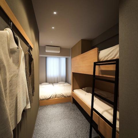 【上野】GRIDS TOKYO UENO HOTEL&HOSTEL ベーシックルーム4名定員