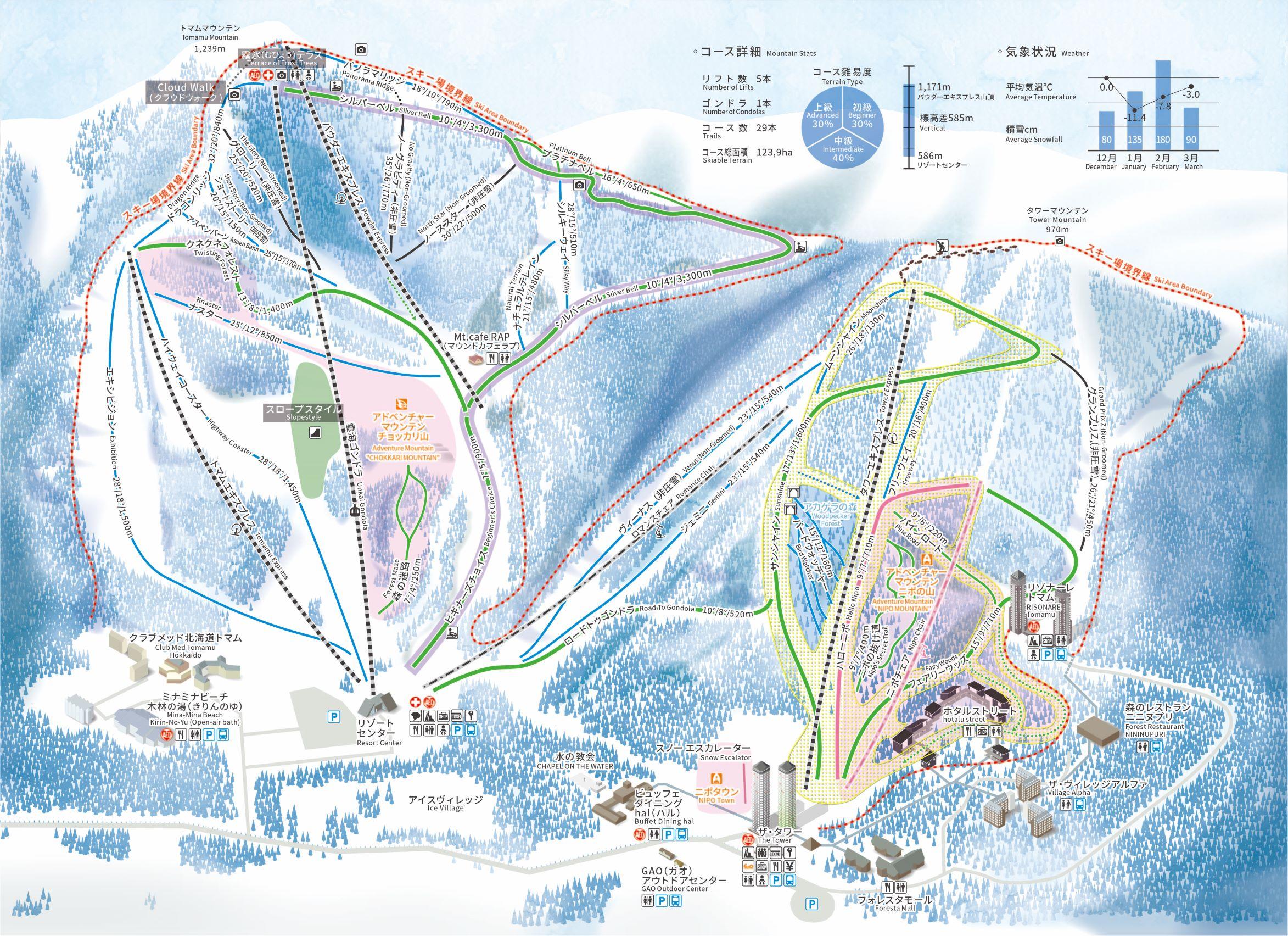 トマムスキー場のコースマップ