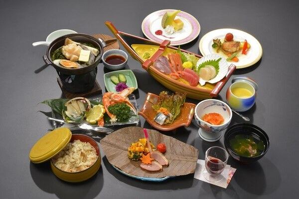 三陸花ホテル はまぎく 夕食一例
